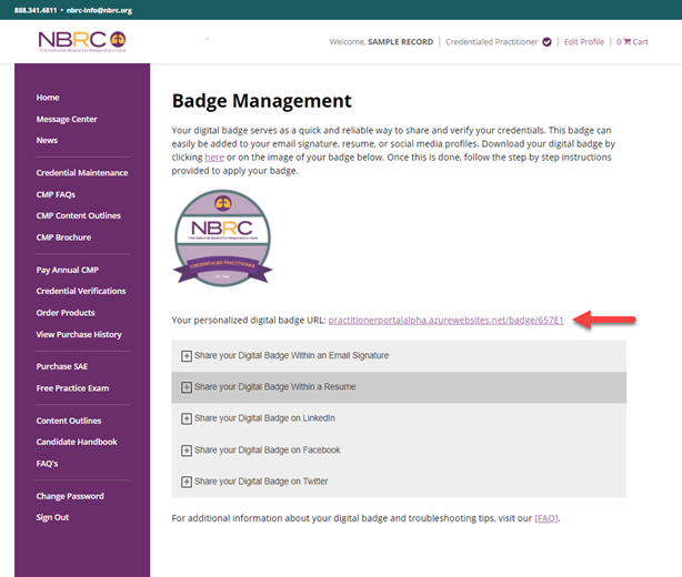 Badge Management Badge Url