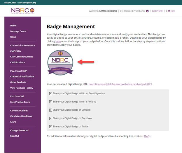 Badge Management Page